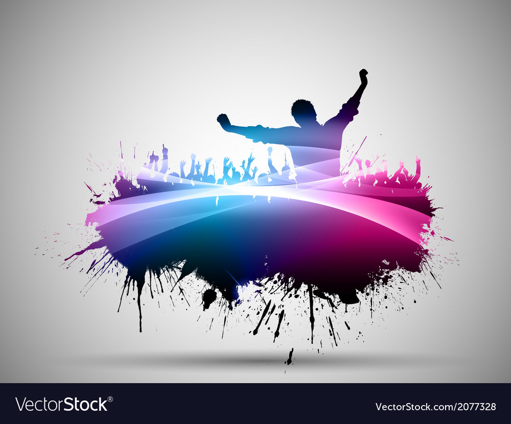 Grunge party crowd background vector