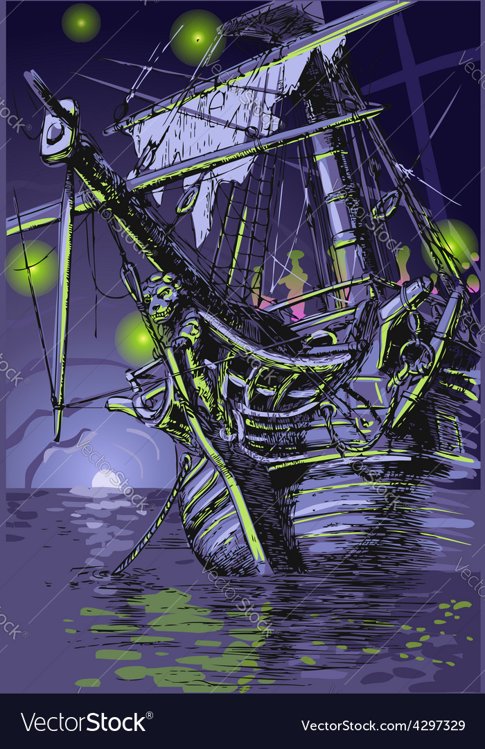 Adventure island  the ghost ship vector