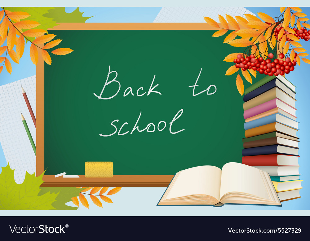 School autumn background with blackboard books vector