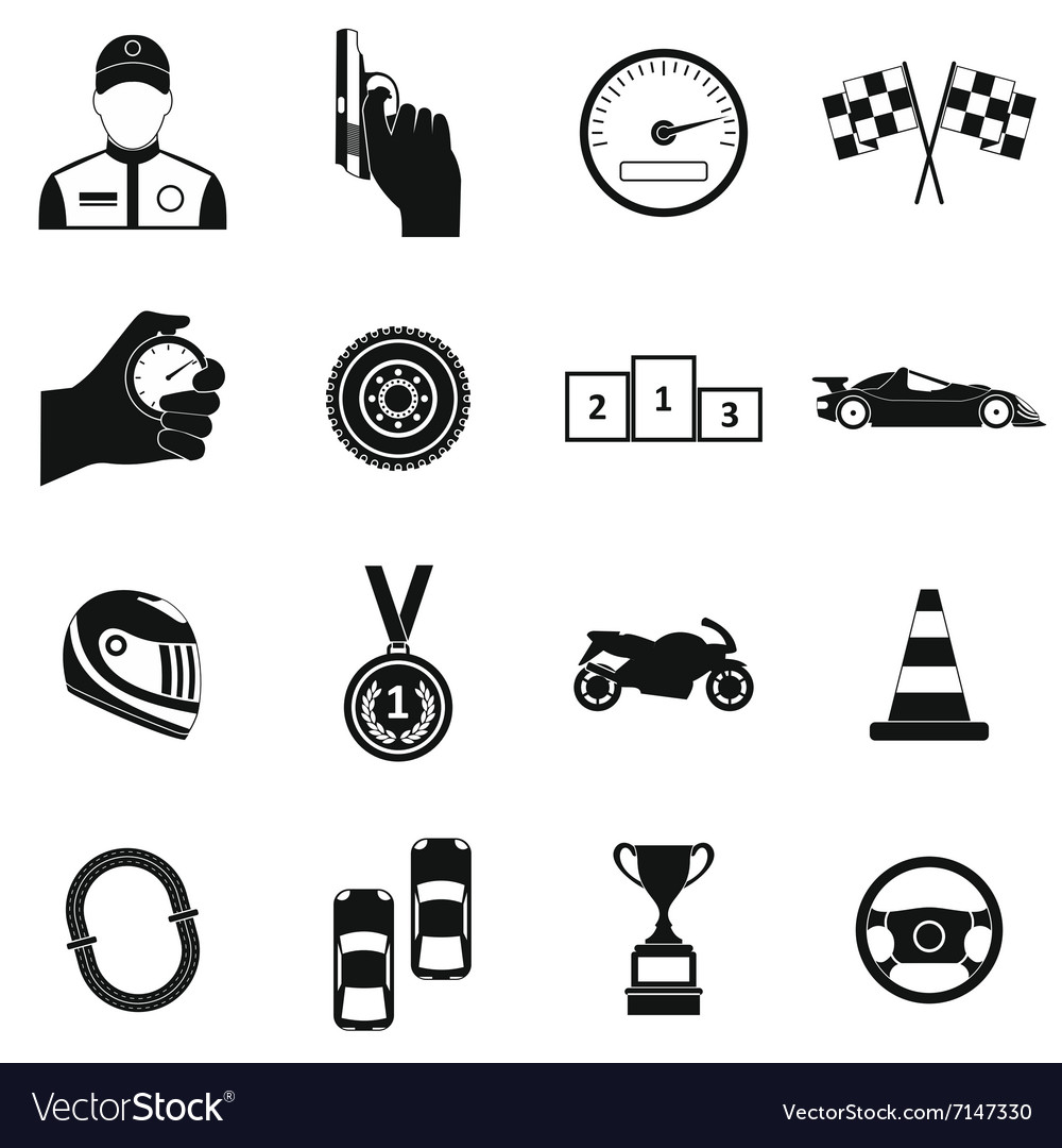 Car racing simple icons vector