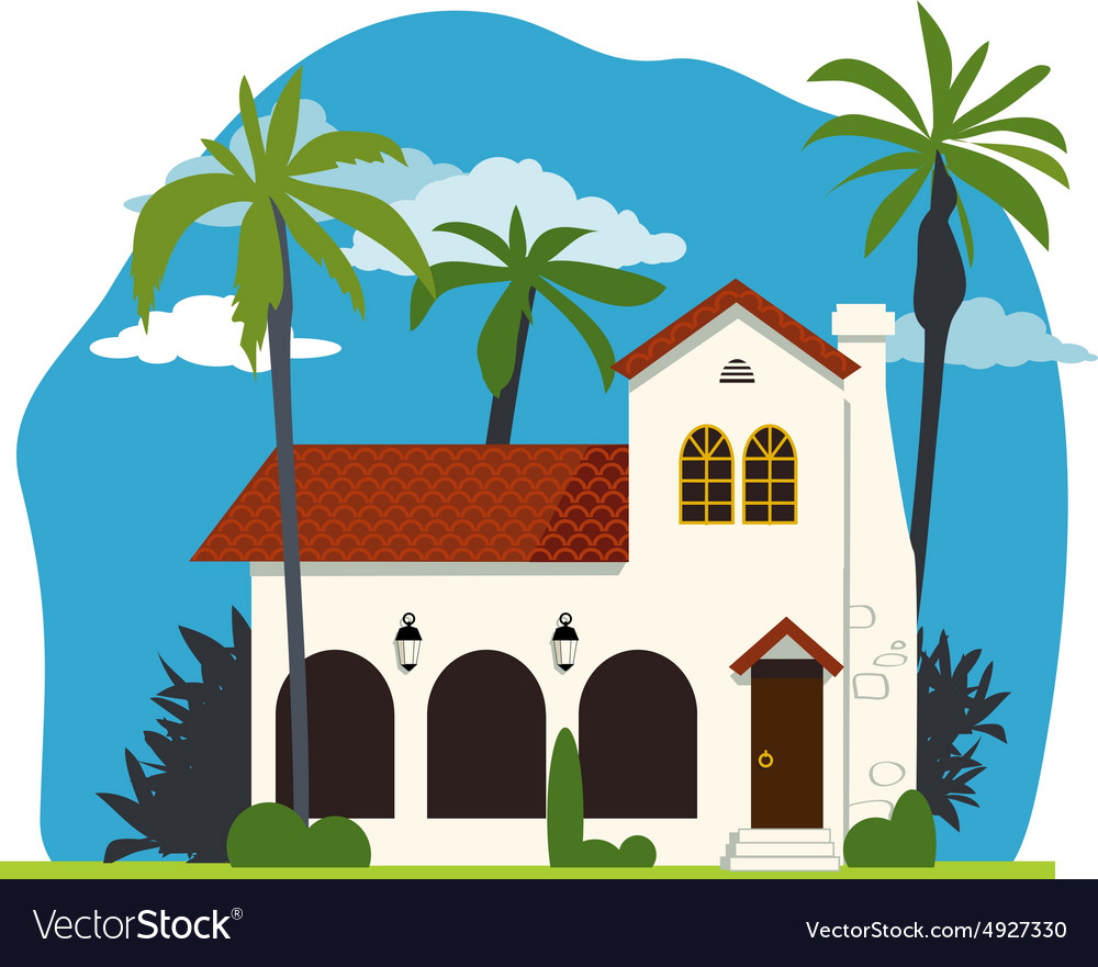 Spanish colonial house vector