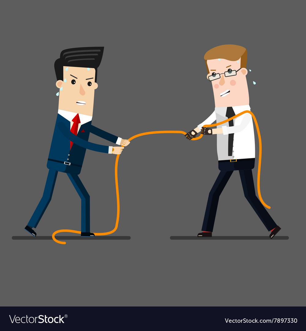 Two businessmen in a tug of war battle for vector