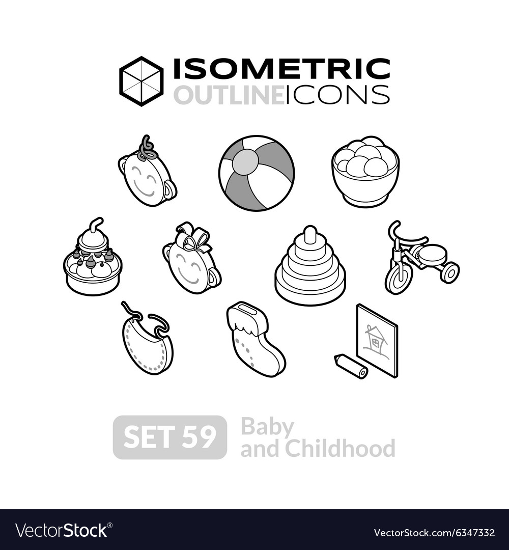 Isometric outline icons set 59 vector
