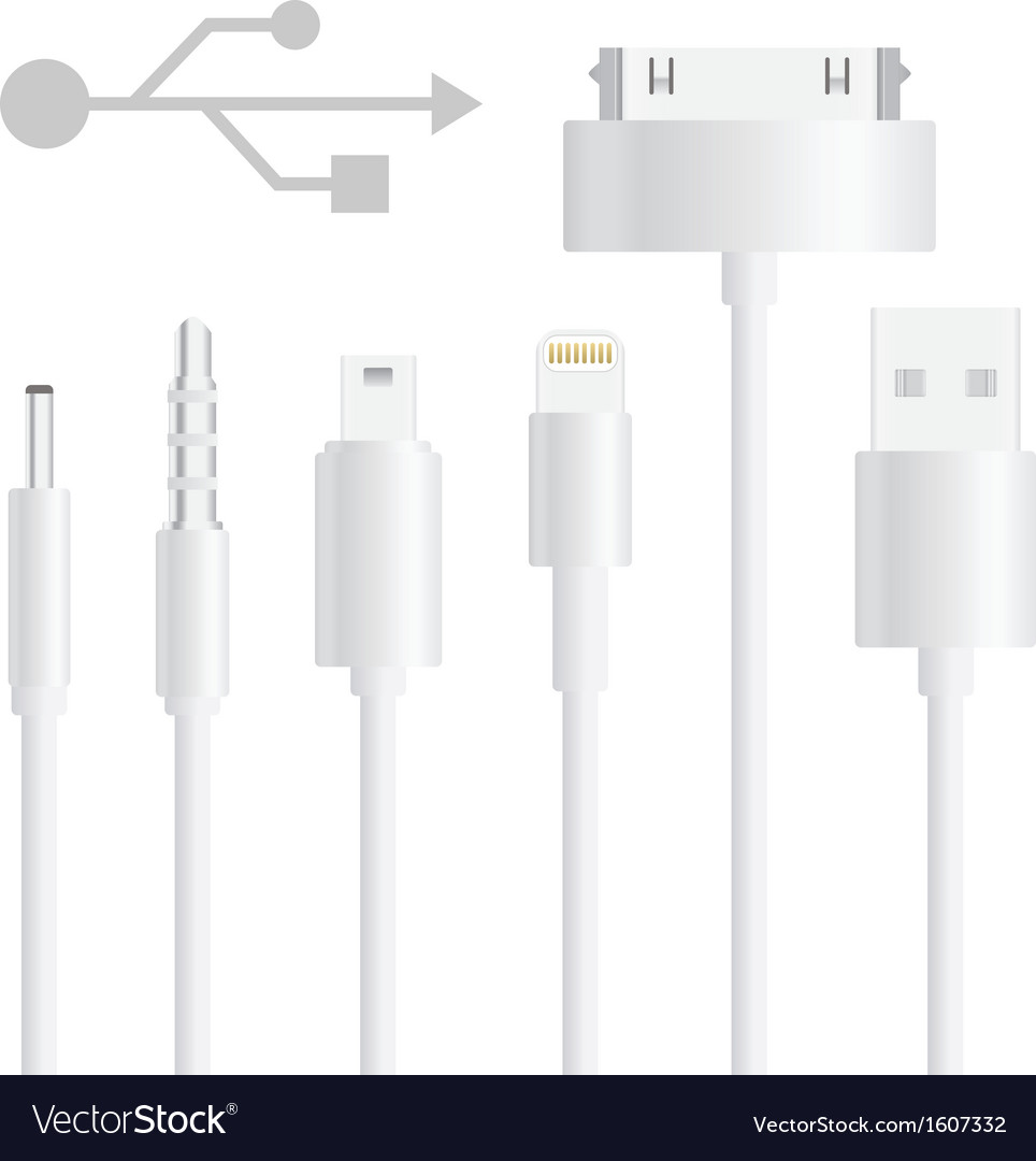 Set of usb cable vector