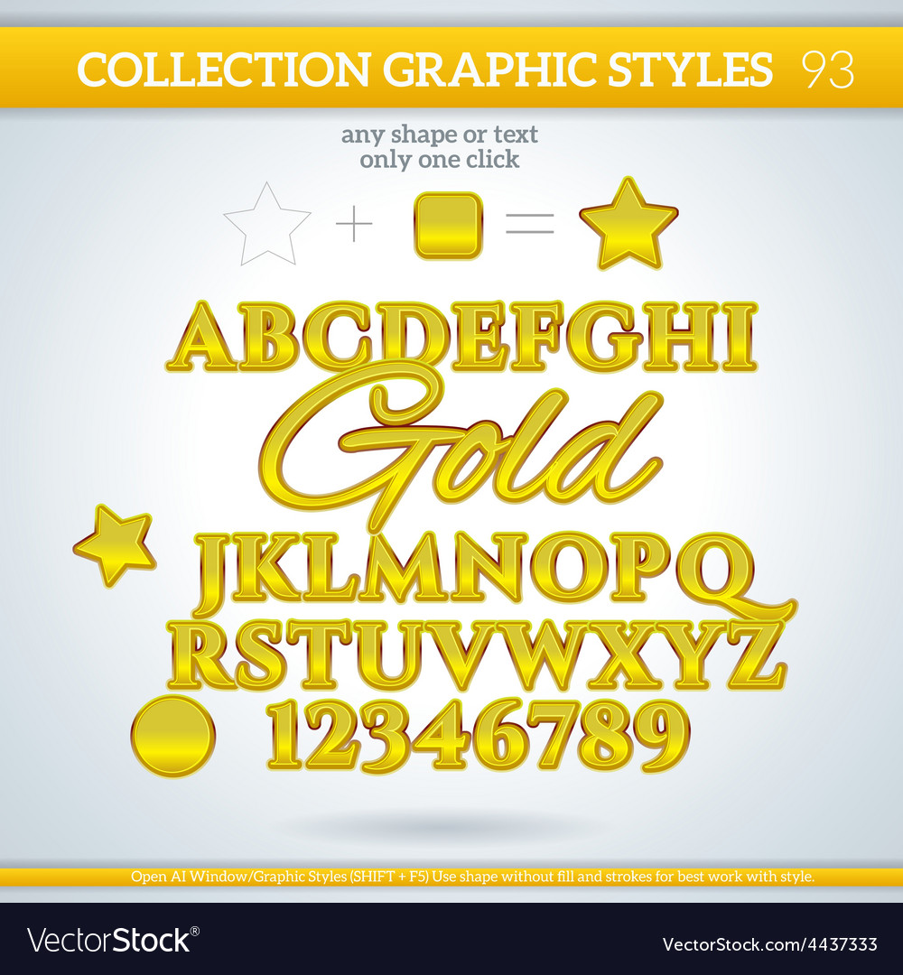 Gold graphic styles for design use for decor text vector