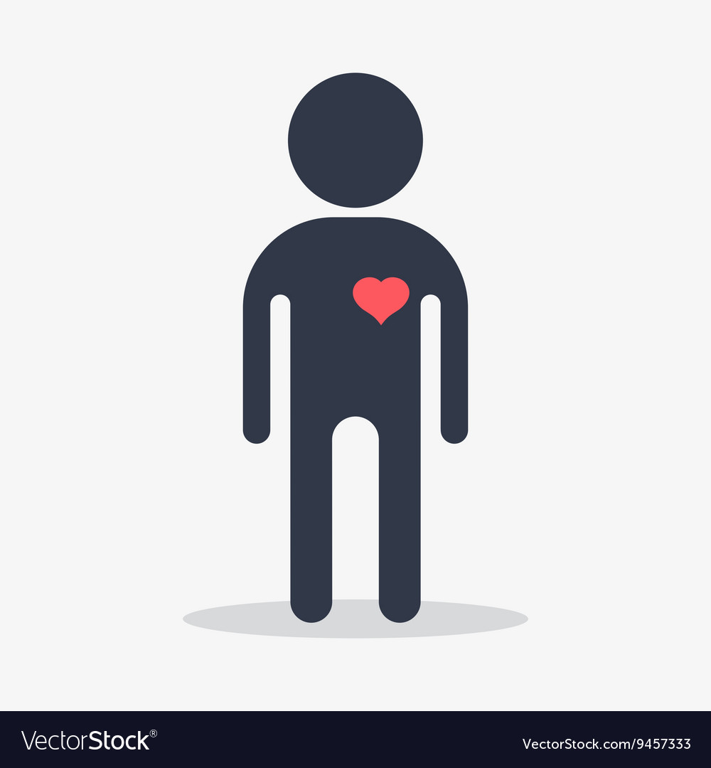 Man with heart in love vector