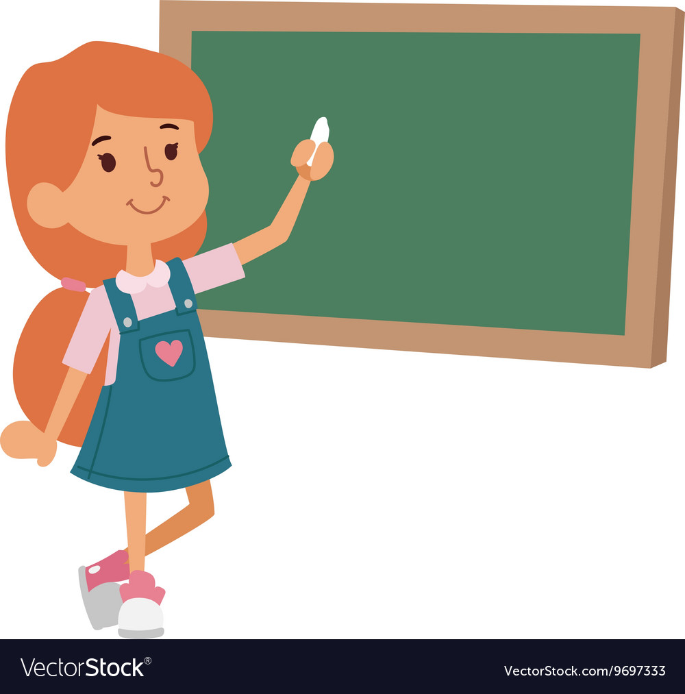 School girl class board vector