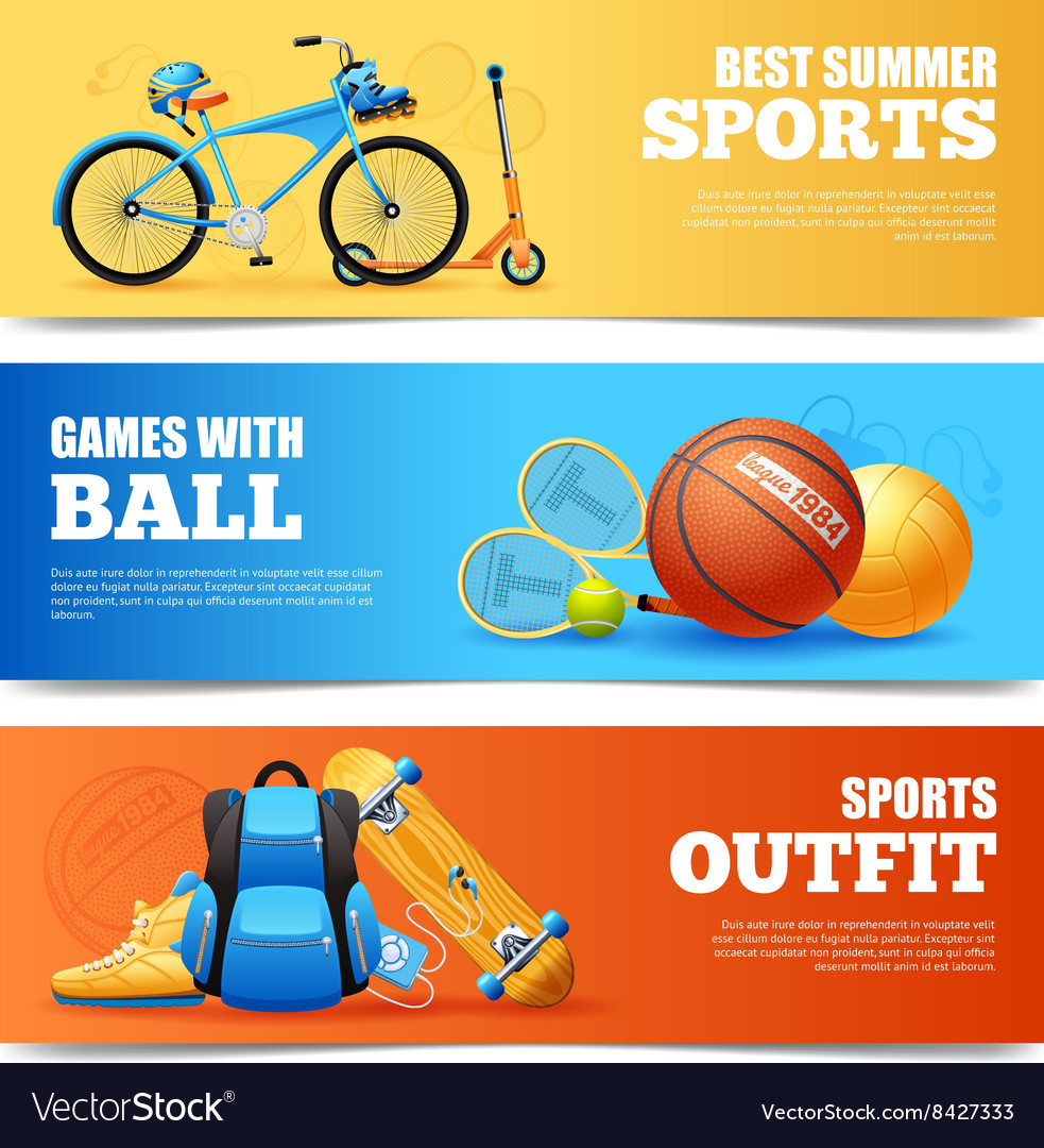 Summer sports banners set vector