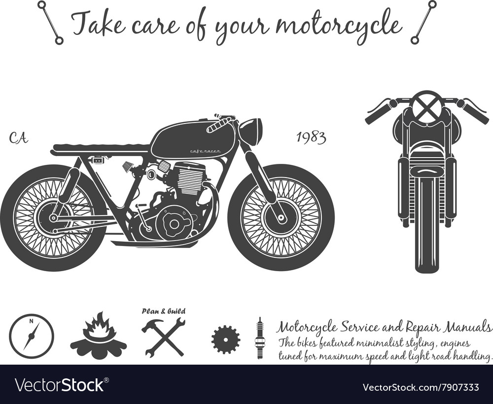 Vintage motorcycle infographic cafe racer theme vector
