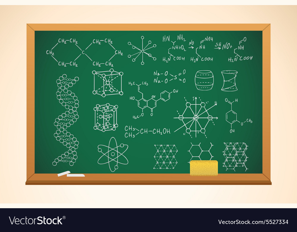 Chemistry school background with blackboard and vector