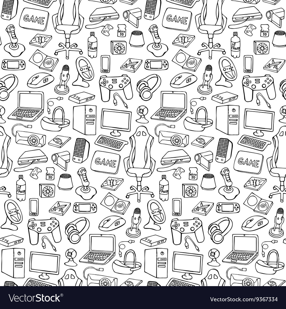 Gamer doodle seamless pattern vector