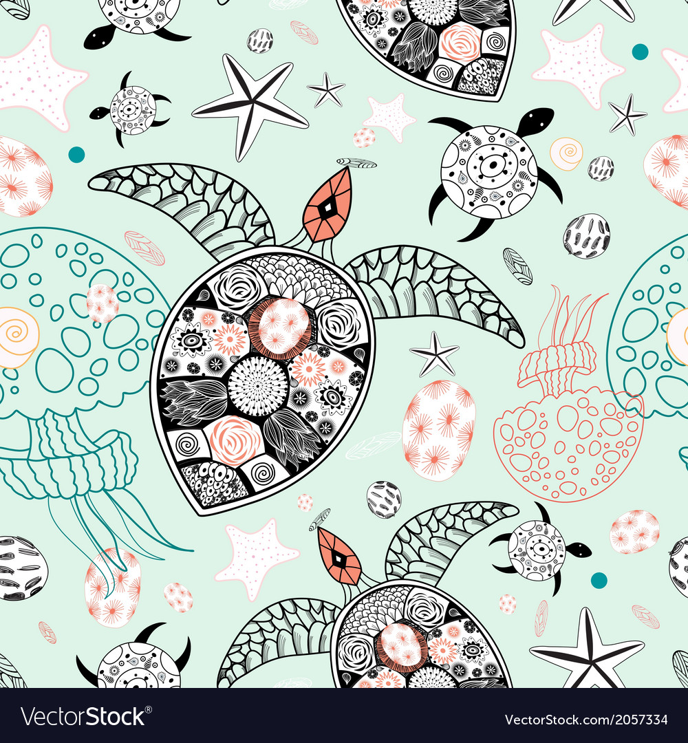 Marine pattern of skulls and stars vector