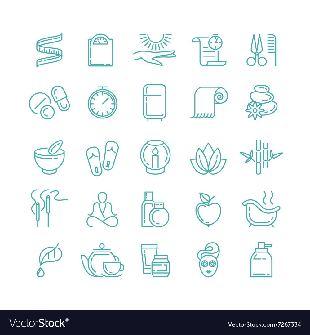Spa and beauty line icons set vector