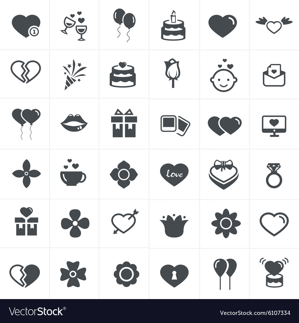 Valentine icons set vector