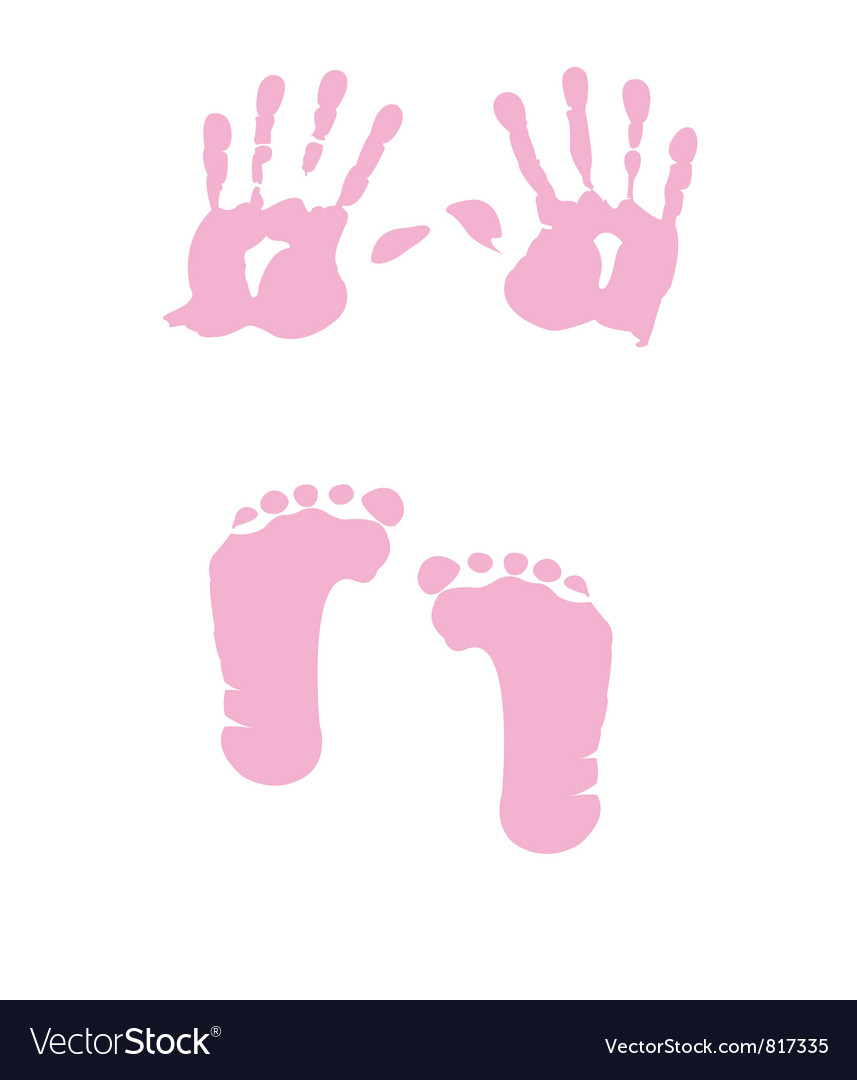 Baby girl handprint footprint vector
