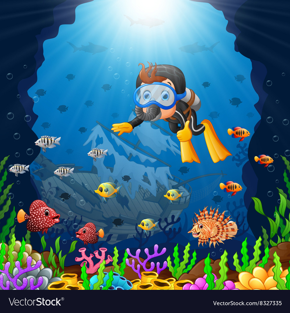 Cartoon diver under the sea vector