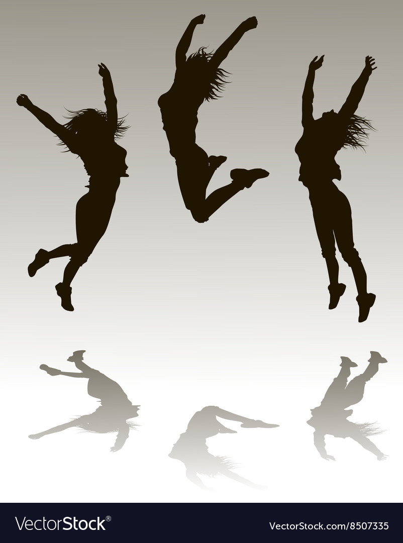 Silhouettes of a girl jumping vector