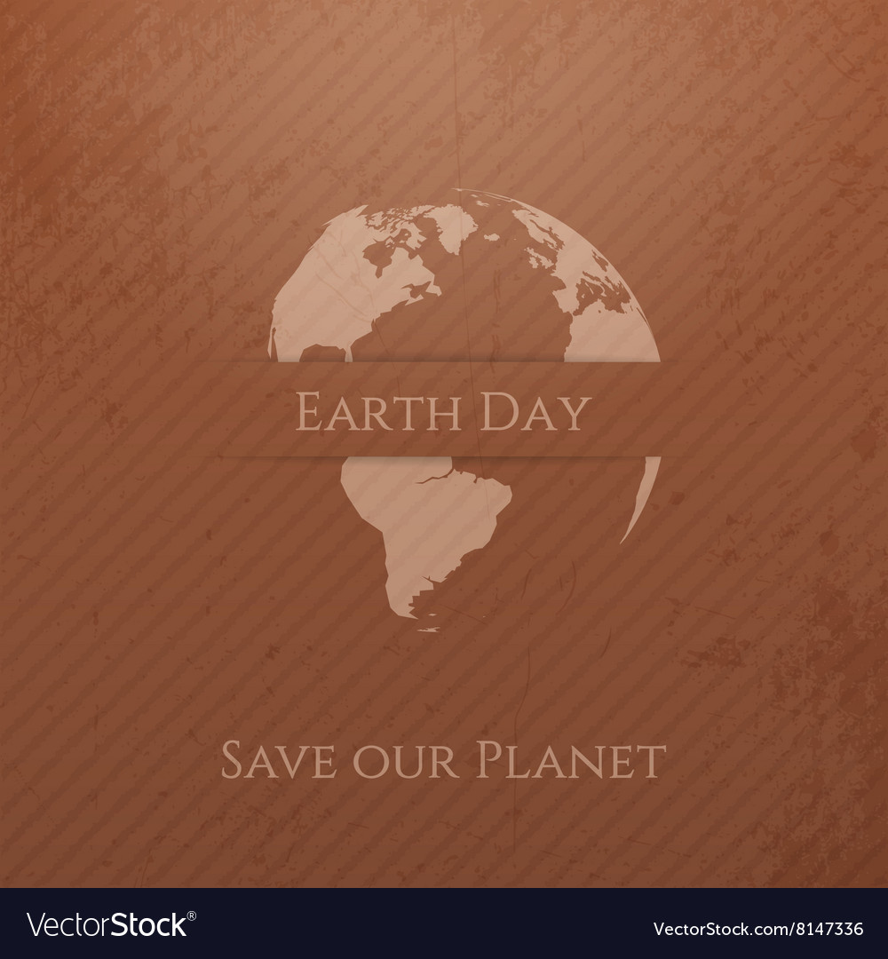 Earth day cardboard banner template vector