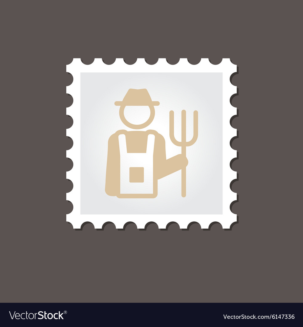 Farmers flat stamp outline vector