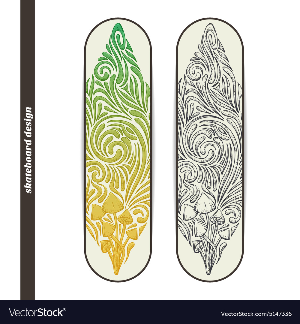 Skateboard design five vector