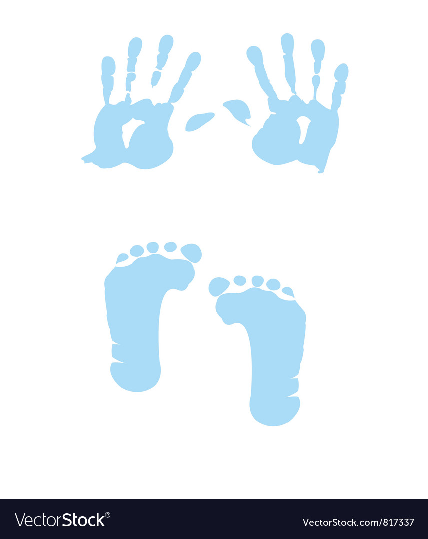 Baby boy handprint footprint vector