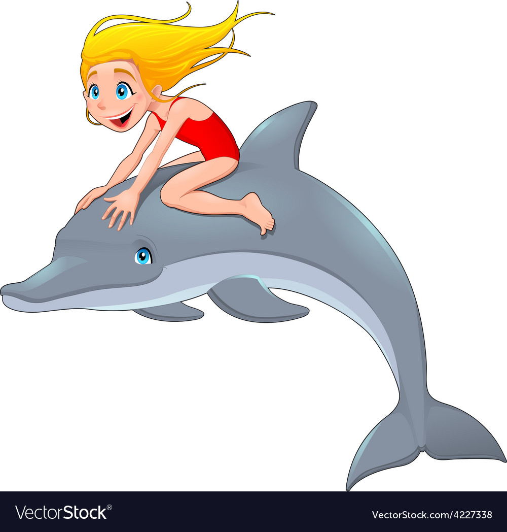 Girl and the dolphin vector