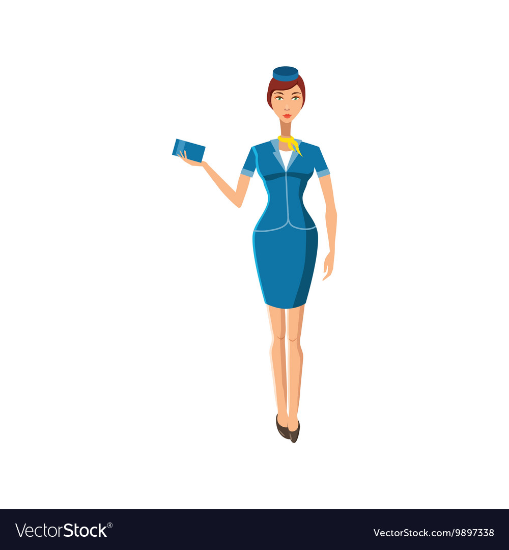 Stewardess icon in cartoon style vector
