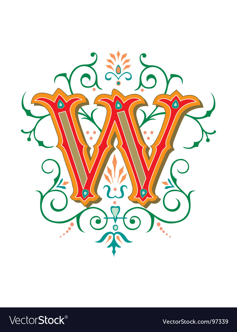 Floral letter w vector