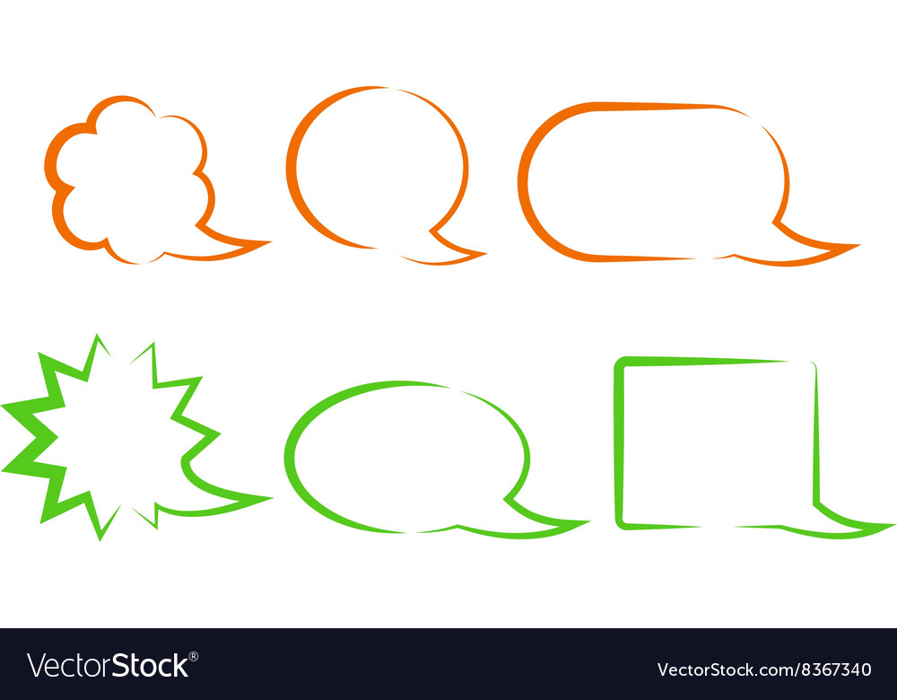 Orange and green bubbles for a chat with different vector