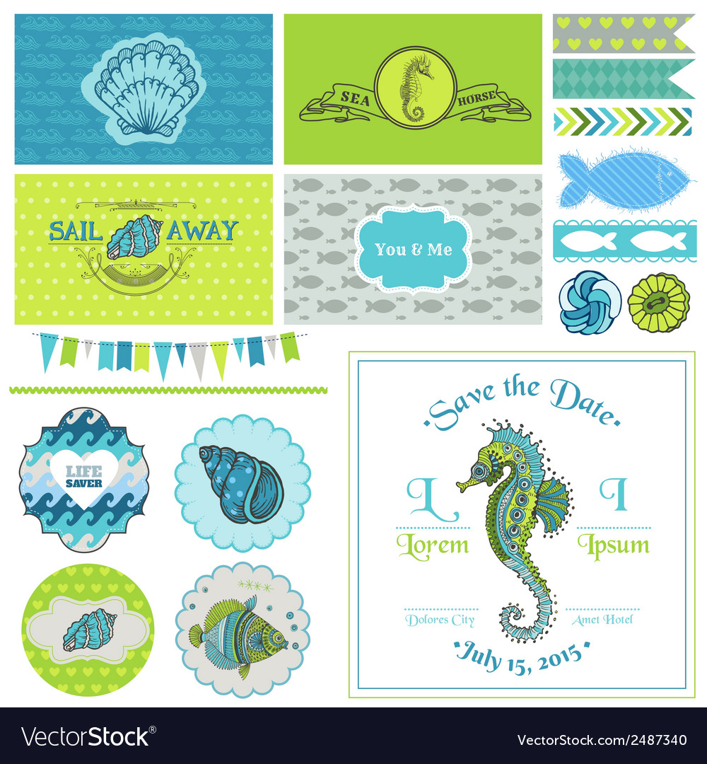 Vintage seahorse party set  for party vector