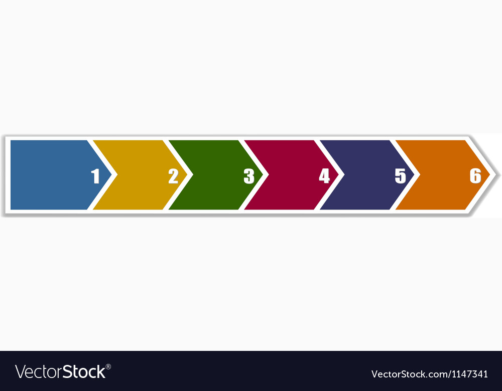Arrow banner in six steps vector