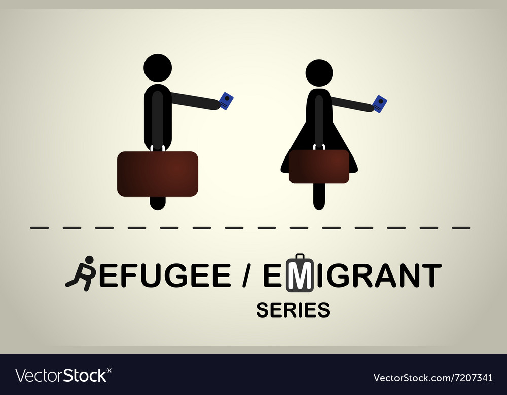 People with bag and passport vector