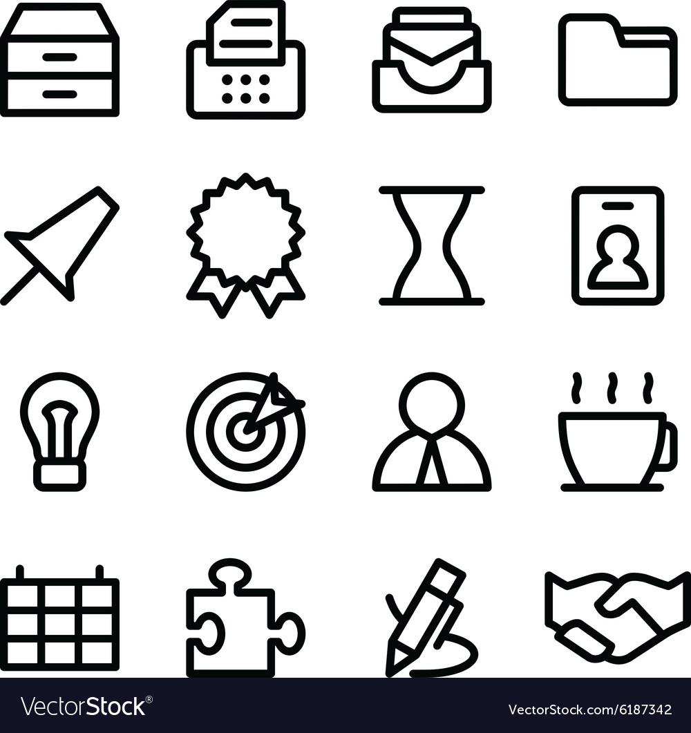 Crisp business icons vector
