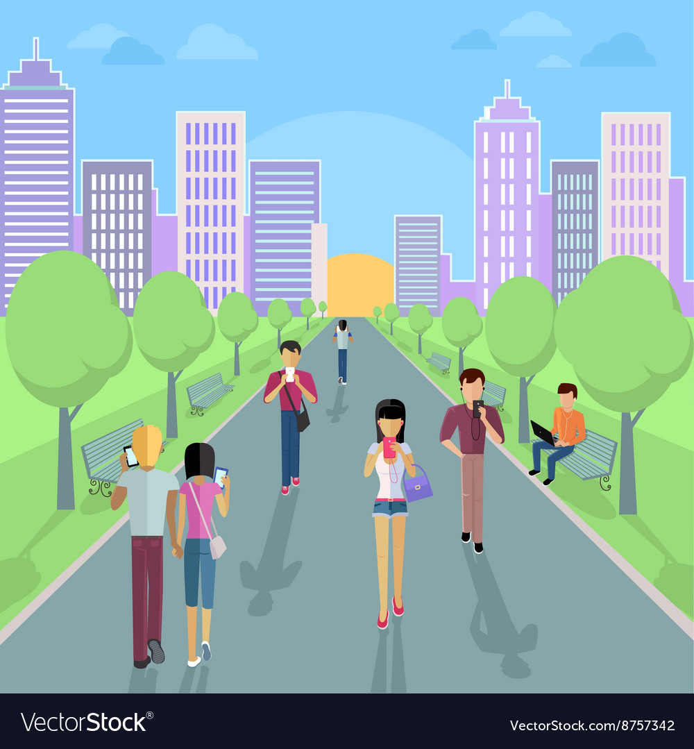 People with smartphone on street vector
