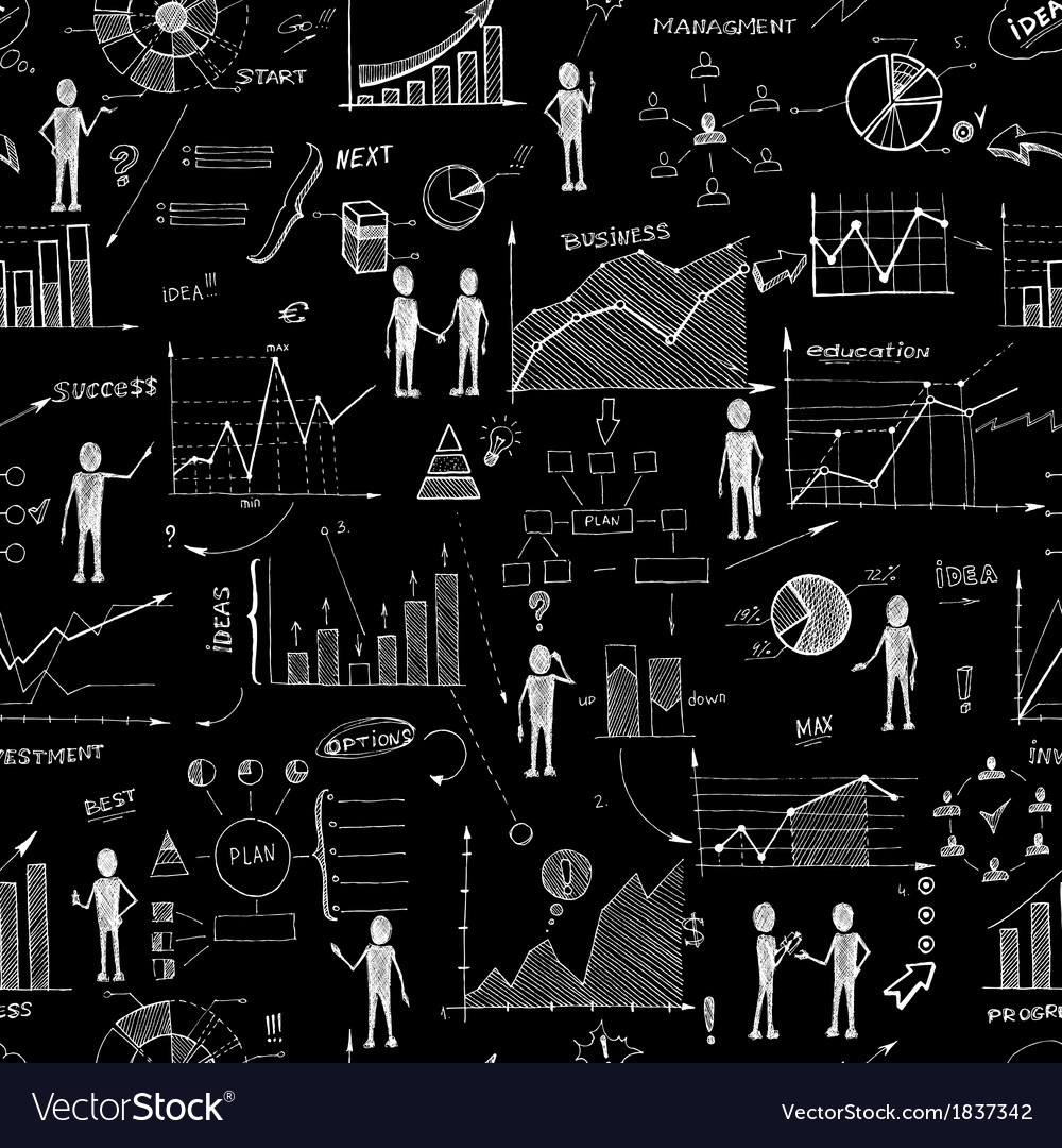Seamless chalk board doodle web charts background vector