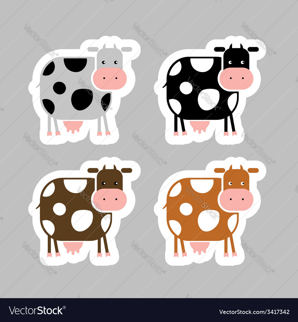 Stickers with funny cow for your design vector
