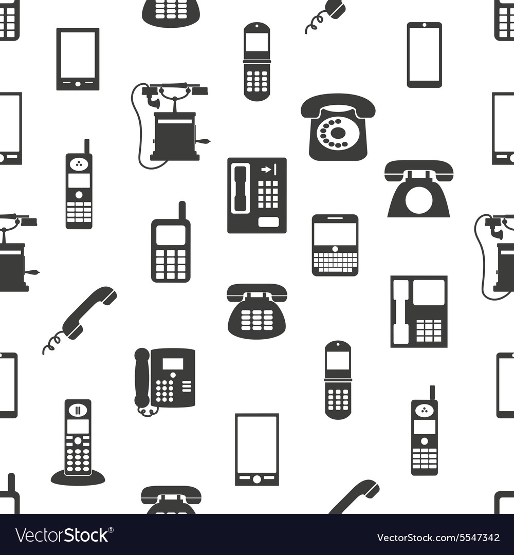 Various phones symbols and icons seamless pattern vector