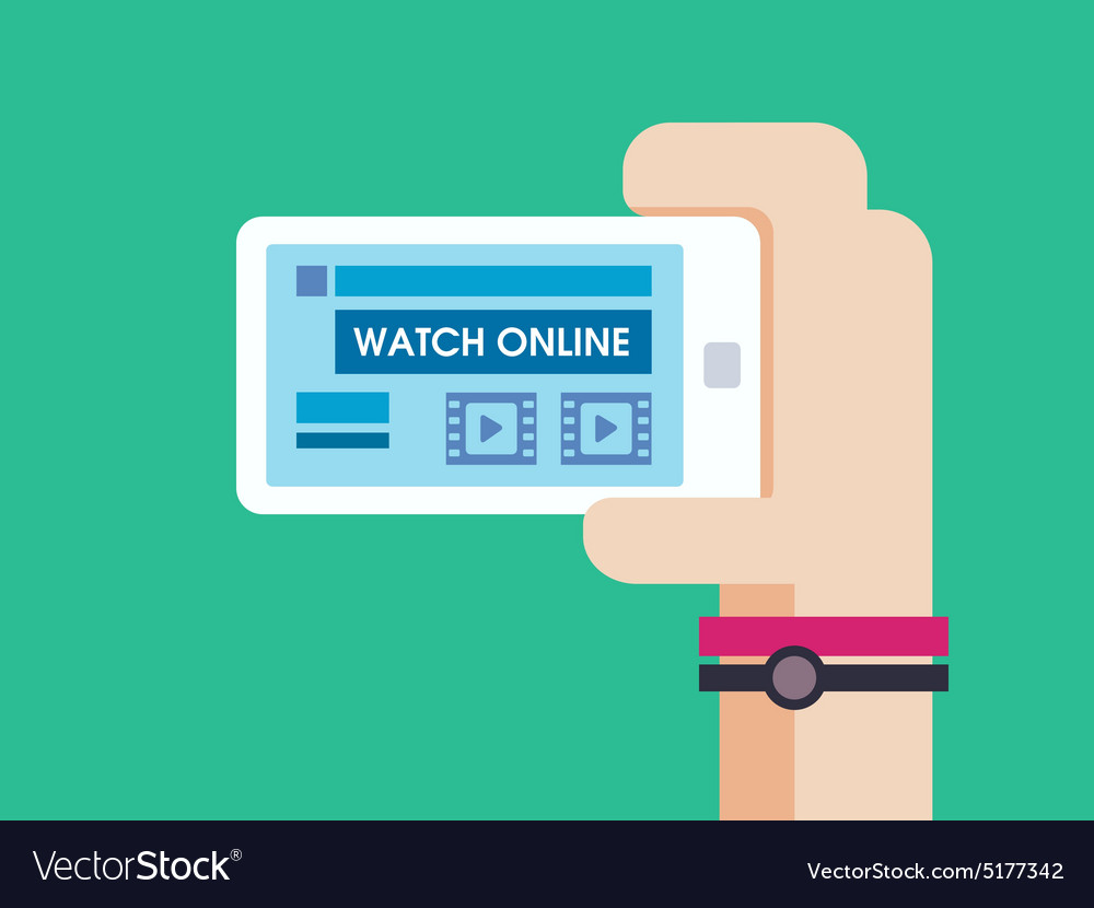 Watch game online on smart phone vector