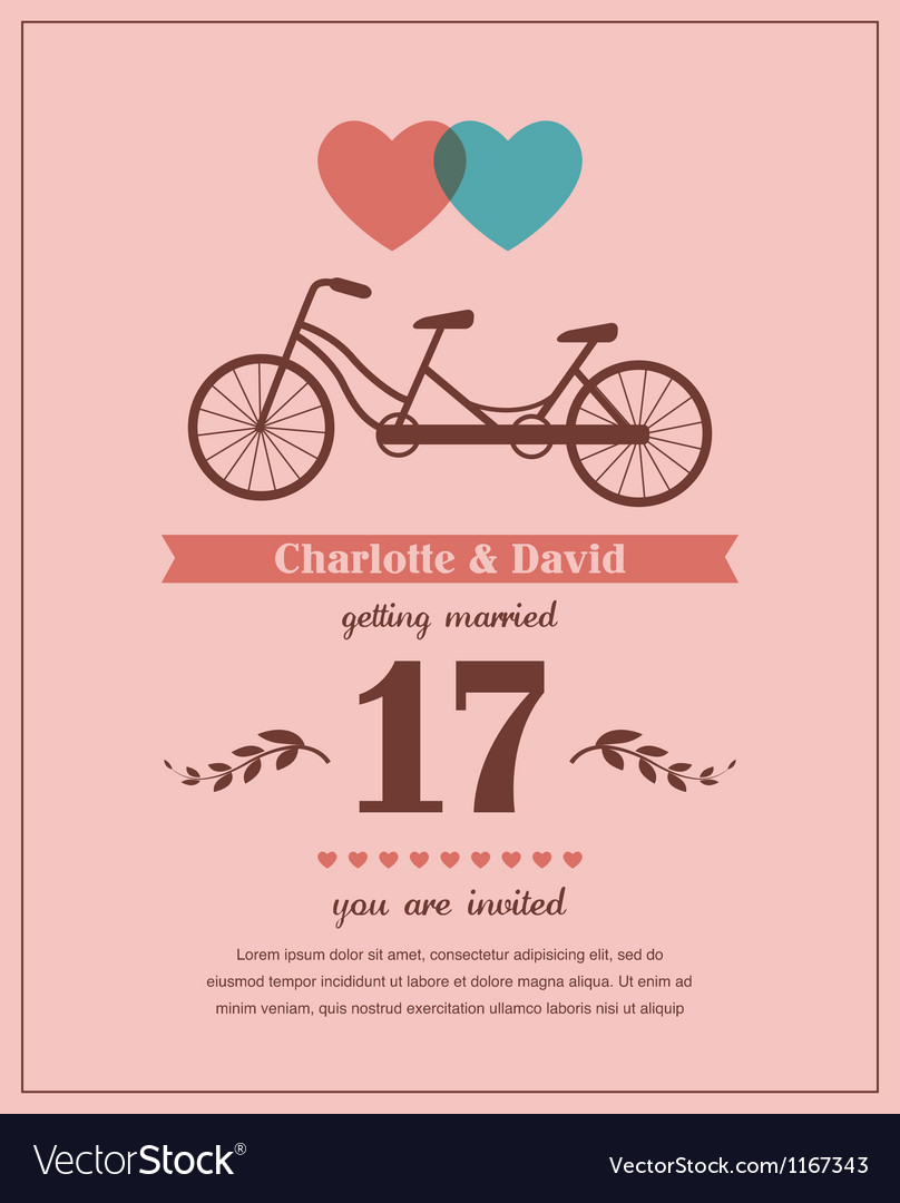 Valentines card with tandem bicycle vector