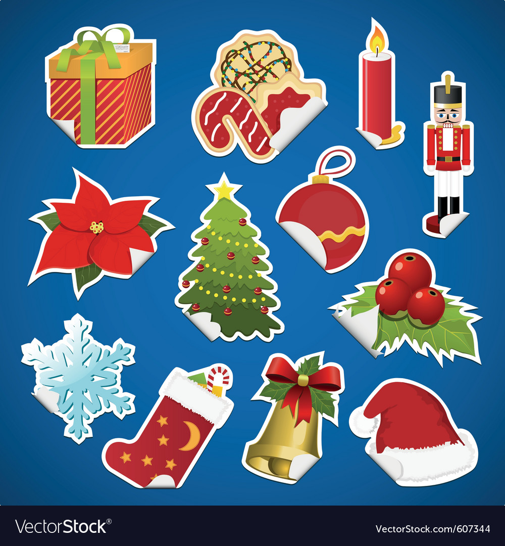 Collection of christmas stickers with corner vector