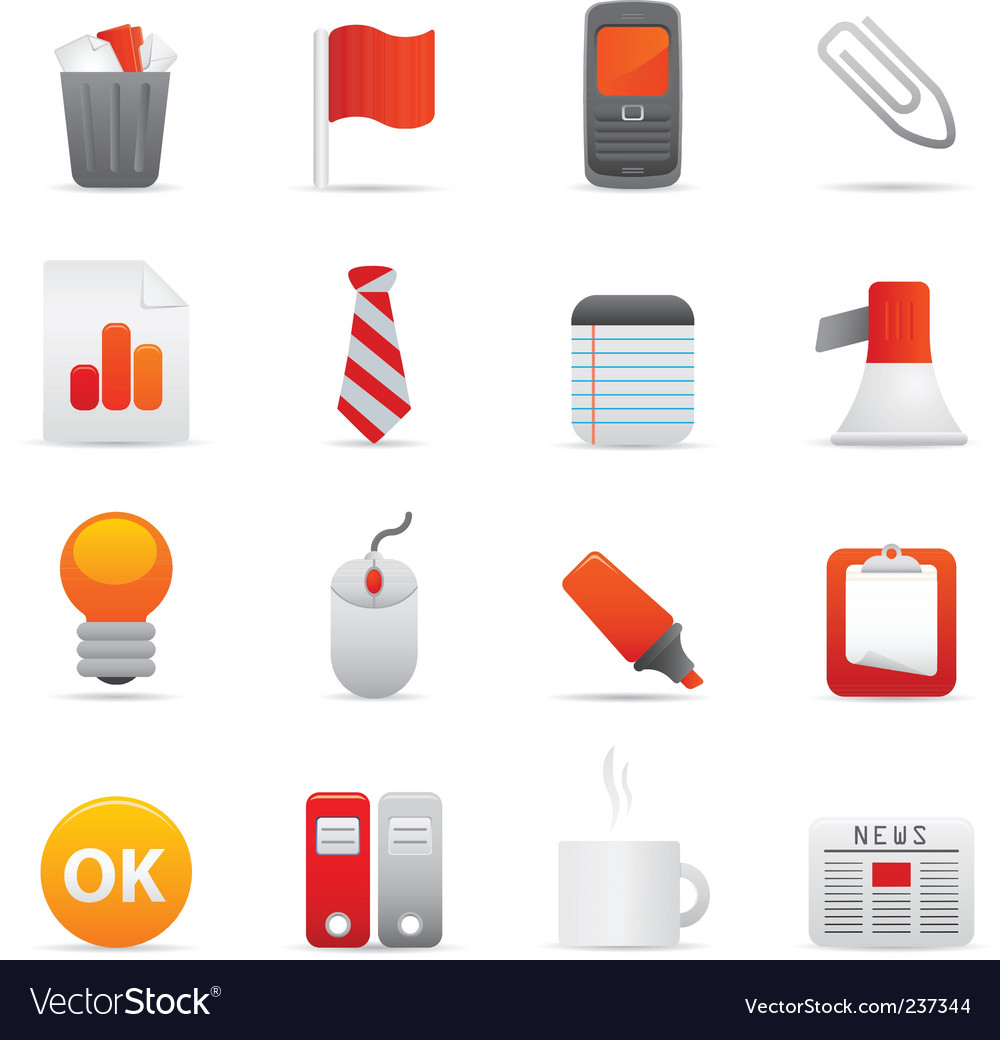 Office icons red vector