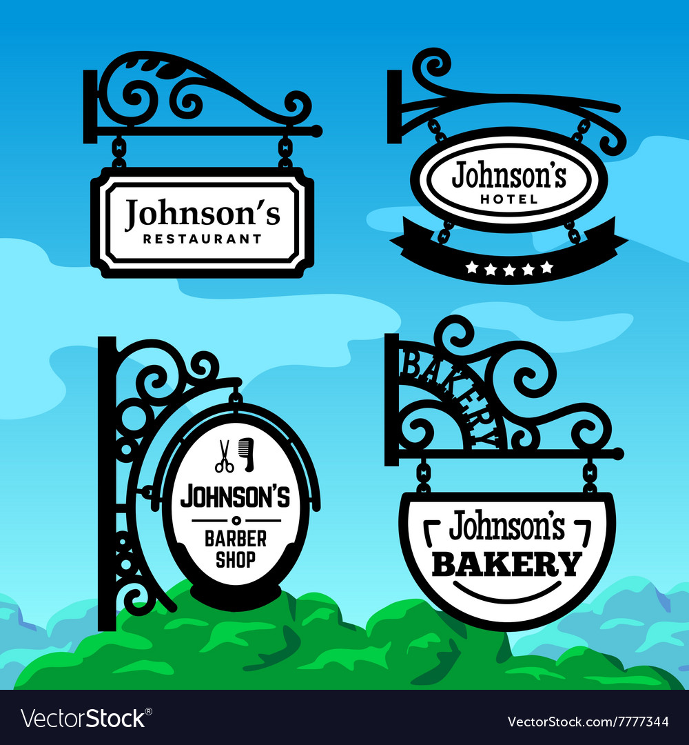 Oldfashioned shop signs vector