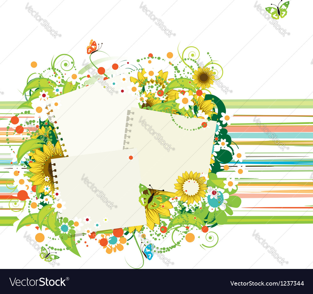 Summer frames with sunflowers insert your photos vector