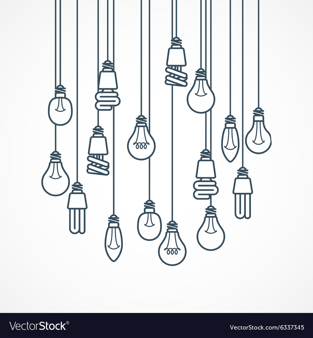 Light bulb hanging on cords  lamps vector
