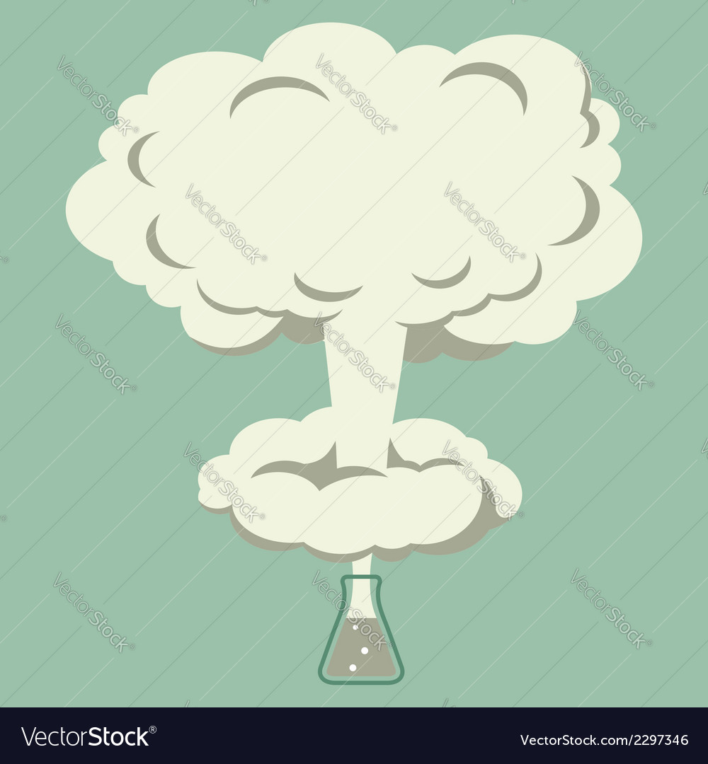 Chemical experiment explosion in the flask vector