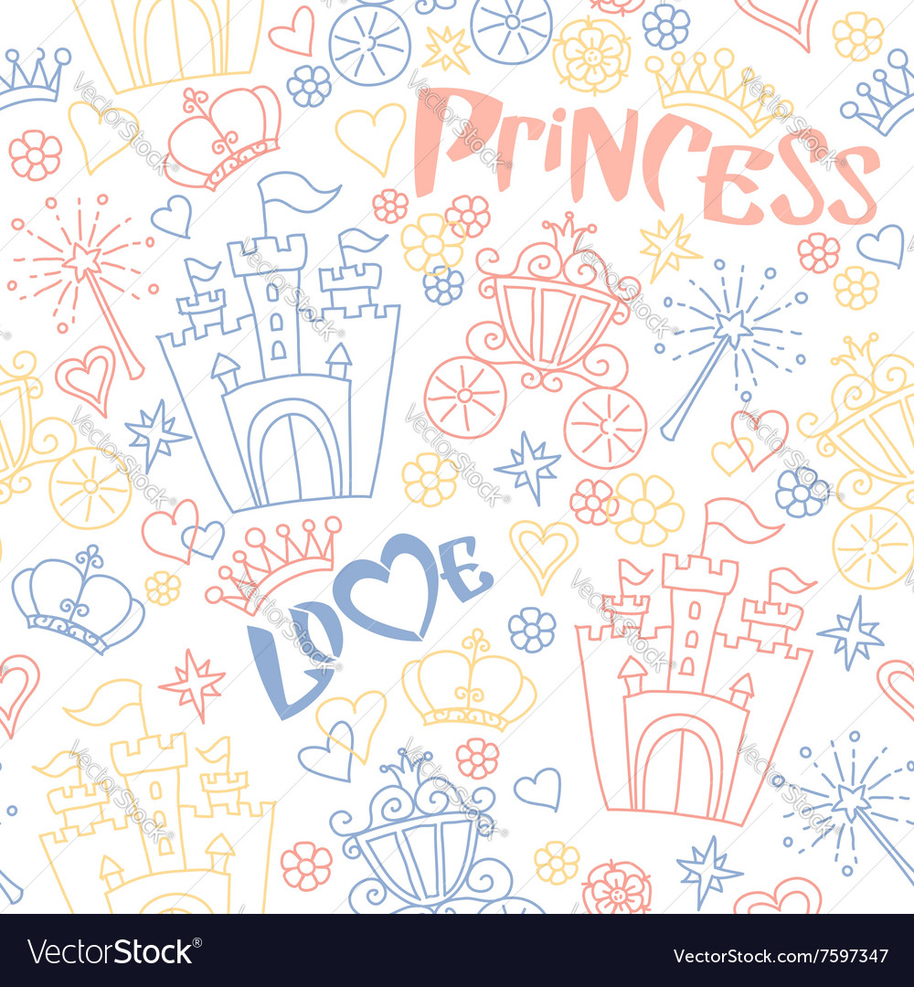 Hand drawn seamless princess pattern vector