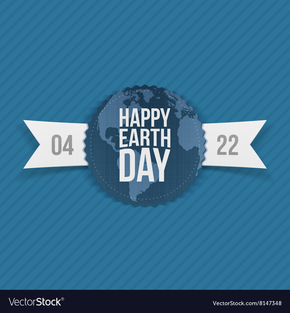 Earth day paper banner with ribbon vector