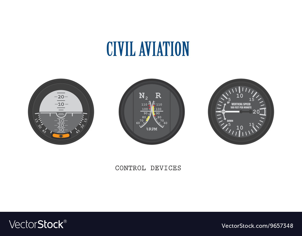 Set of aircraft instruments vector