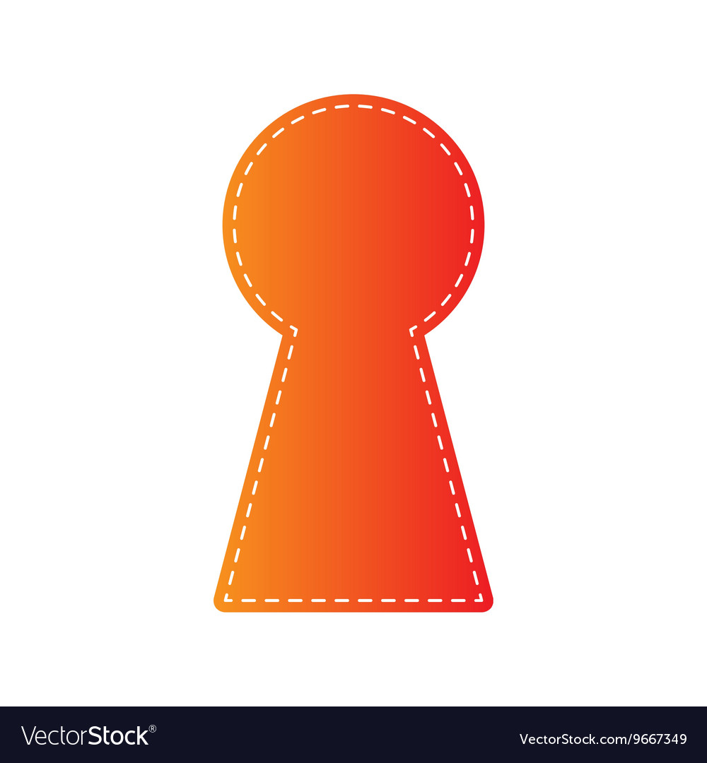 Keyhole sign orange applique vector