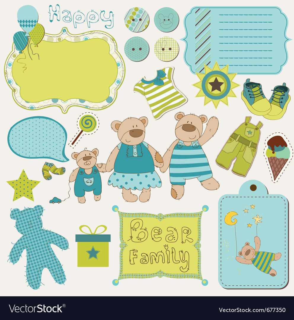 Bear family baby design elements vector